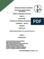Práctica-2 toxicología. Influencia de pH urinario en la eliminación de toxinas.