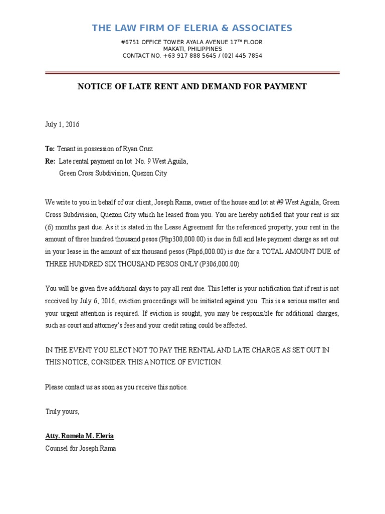 Late Rental Payment Letter from imgv2-2-f.scribdassets.com