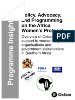 Policy, Advocacy, and Programming on the Africa Women's Protocol