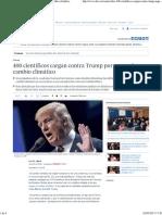 400 Científicos Cargan Contra Trump Por Negar El Cambio Climático