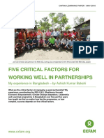 Five Critical Factors for Working Well in Partnerships
