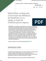 Sharepoint - Restricciones y Limitaciones OneDrive