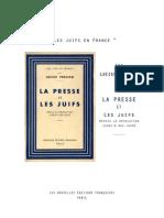Pemjean Lucien - La Presse Et Les Juifs