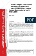 Honduras: Analysis of the impact of the Collective of Honduran Women (CODEMUH) on workers' rights and occupational health, 2002 to 2005