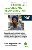 Post-Earthquake Response and Reconstruction: Gender-sensitive advocacy in Indonesia