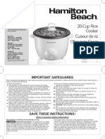 Hamilton Beach 20-Cups Rice Cooker 37532N User Guide
