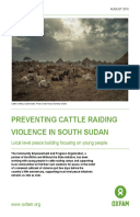 Preventing Cattle Raiding Violence in South Sudan: Local level peace building focusing on young people