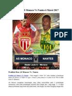 Prediksi as Monaco vs Nantes 6 Maret 2017