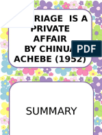 Assignment - Marriage is a Private Affair by Chinua Achebe