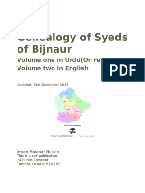 Genealogy of the Syeds of Bijnaur | Medieval Islam | Arab People