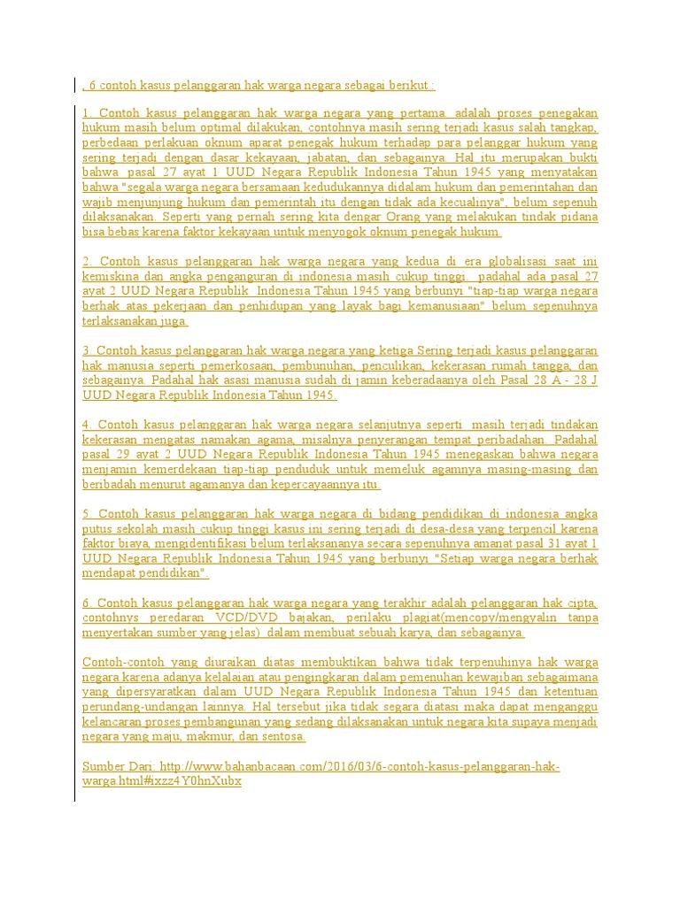 6 Contoh Kasus Pelanggaran Hak Warga Negara Sebagai Berikut