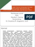 Hubungan Antara Kadar Vitamin Antioksidan Perinatal Dan Logam