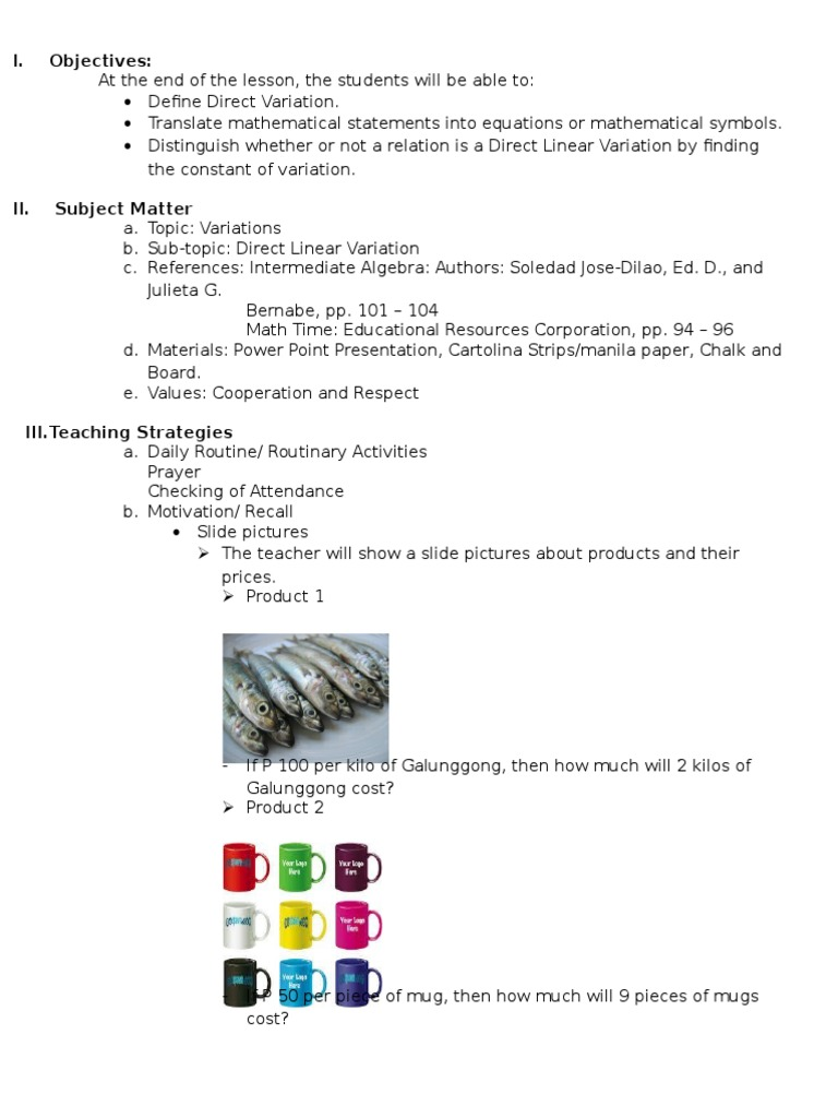 Lesson plan for direct linear variatiion lesson plan mathematics buycottarizona