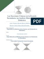 Las Secciones Cónicas en La Escuela Secundaria. Un Análisis Matemático y Didáctico1