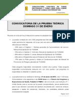 08 Convocatoria de La Prueba Teorica Hora Lugar de Examen y Otras Normas - CONDUCTOR-PERCEPTOR 03-2015