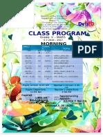 Class Program & Teachers Program Gr 5