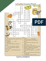 Crossword Puzzle Kids Healthy Words Breakfast