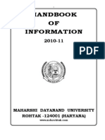Handbook of Information Session 2010 11 of MD University, Rohtak