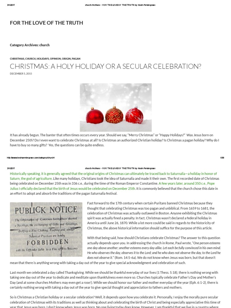 Christmas_ a Holy Holiday or a Secular Celebration by Kevin ...