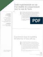 Etude expérimentale en vue d'un modèle de comportement pour la vase de Tunis