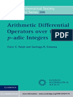 (London Mathematical Society Lecture Note Series) Claire C. Ralph, Santiago R. Simanca-Arithmetic Differential Operators Over the P-Adic Integers. 396-Cambridge University Press (2012)