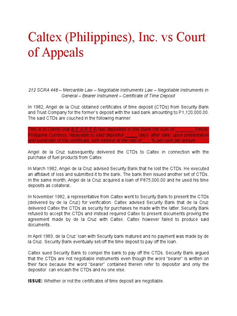 Caltex Vs Ca Deposit Account Negotiable Instrument