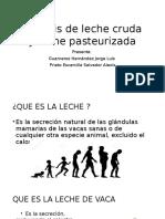 Análisis de Leche Cruda y Leche Pasteurizada