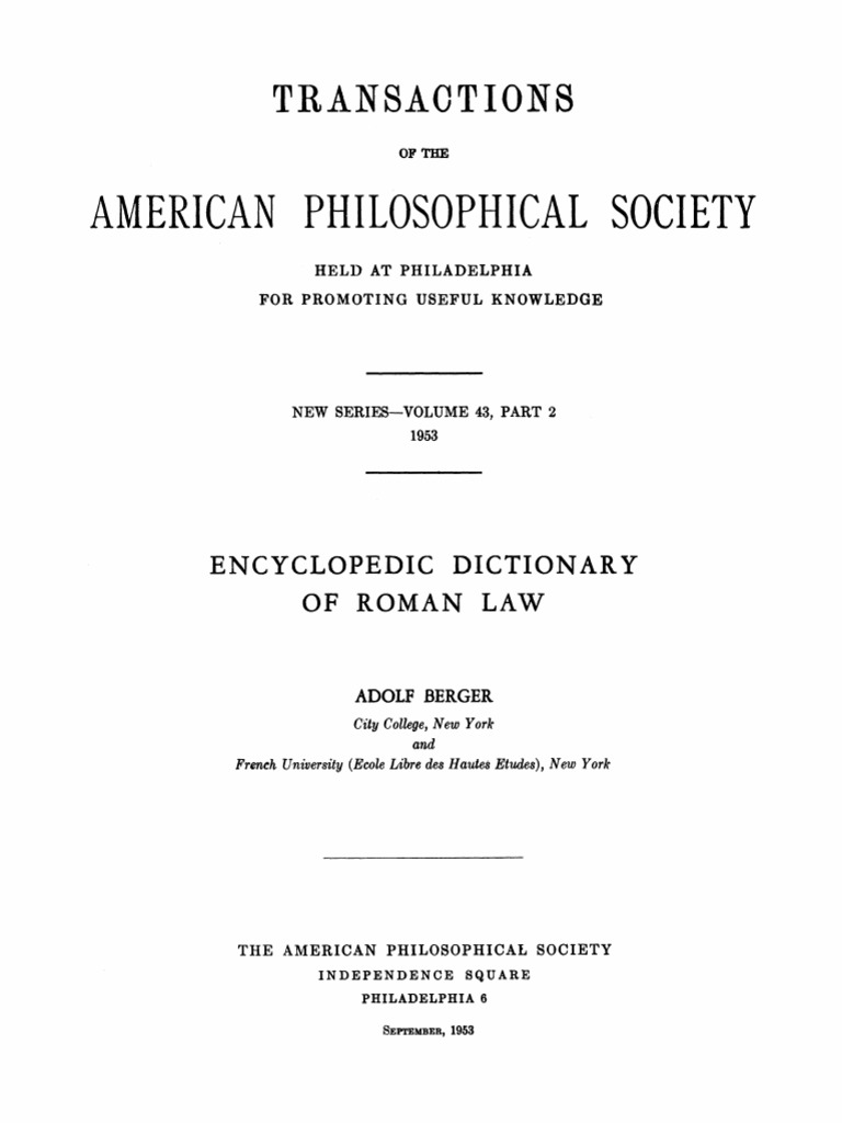 Encyclopedic Dictionary of Roman Law (Berger 1953).pdf | Roman ...