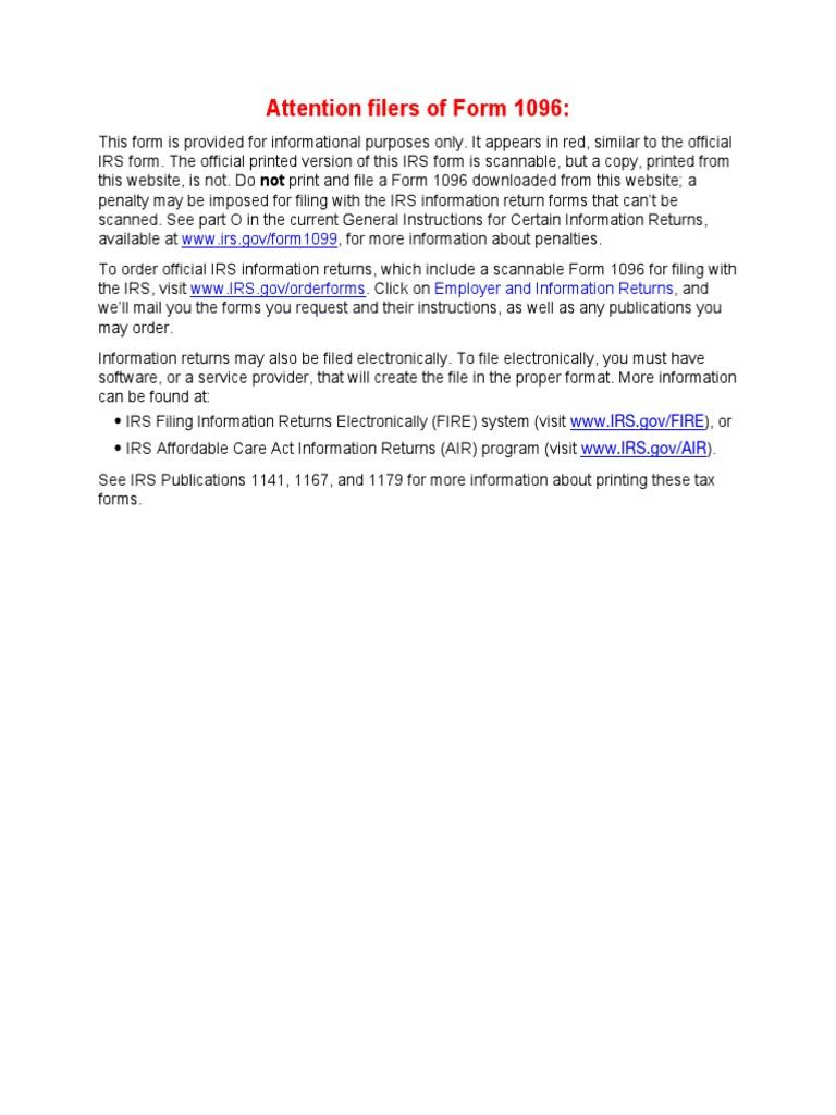 f1096 | Internal Revenue Service | Irs Tax Forms