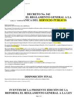 Reforma Del Reglamento General a La Ley Organica Del Servicio Publico
