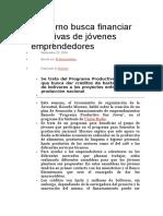 Gobierno Busca Financiar Iniciativas de Jóvenes Emprendedores