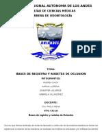 Bases de Registro y Rodetes de Oclusion