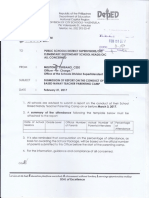 Submission of Report on the Conduct of the School Based Nanay Teacher Parenting Camp