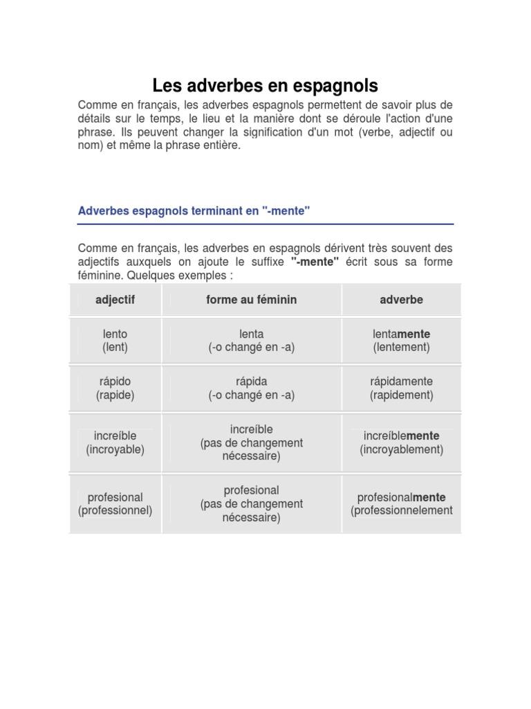 5 Les Adverbes En Espagnols Pdf Langue Espagnole Relations Syntaxiques