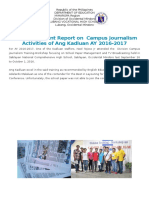 Accomplishment Report on Campus Journalism Activities of Ang Kadluan AY