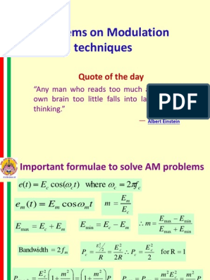 Problems on Modulation techniques: Quote of the day