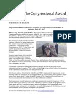 press release congressional award