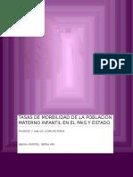 Tasas de Morbilidad de La Poblacion Materno Infantil en El Pais y Estado2