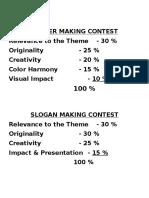 Criteria for Slogan & Poster