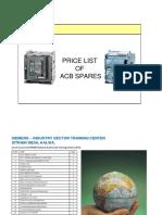 Siemens Acb Spares Parts List New