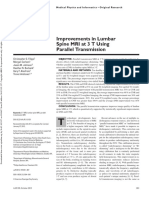 Improvements in Lumbar Spine MRI at 3 T Using Parallel Transmission