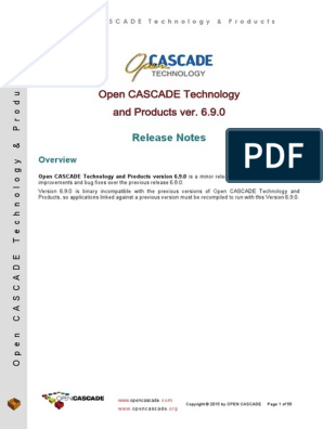 Open CASCADE Technology and Products ver  6 9 0: Release Notes