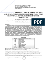EMPIRICAL ASSESSMENT AND MODELING OF MRR AND SURFACE ROUGHNESS ACQUIRED FROM WIRE ELECTRICAL DISCHARGE MACHINING OF INCONEL 718