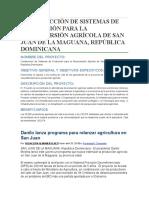 Construcción de Sistemas de Producción Para La Reconversión Agrícola de San Juan de La Maguana
