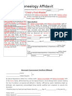 Genealogy Affidavit Form