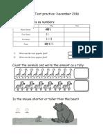 1st Grade Math Test Practice December