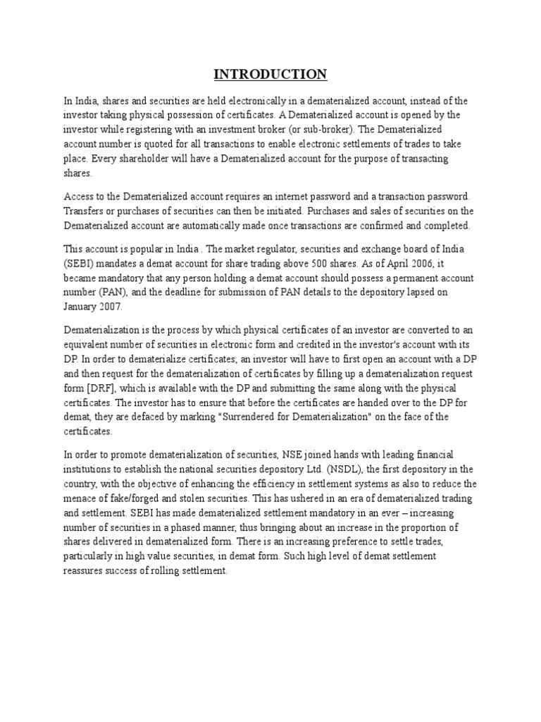Demate Account Project Bhusra Mam | Securities (Finance) | Economic