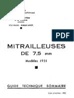 (1953) Mitrailleuses de 7.5mm Modèles 1931