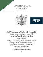 Die Überwindung des Ratio. -