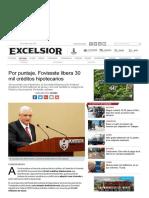 05/Marzo/2017 Por Puntaje, Fovissste Libera 30 Créditos Hipotecarios